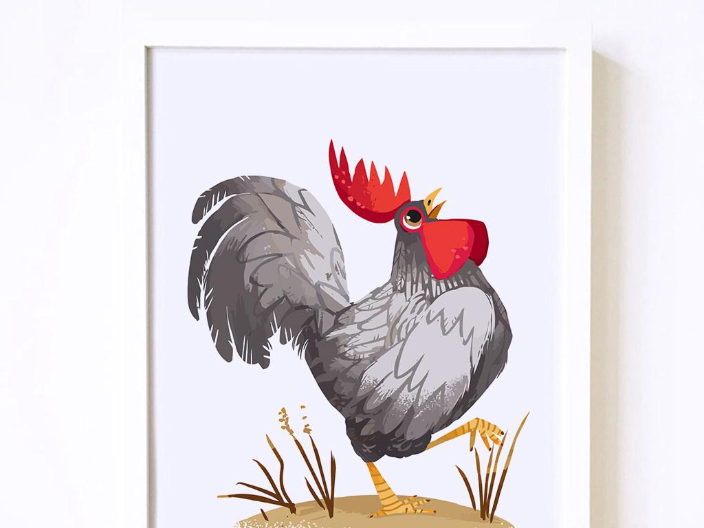 鸡年手绘公鸡装饰画