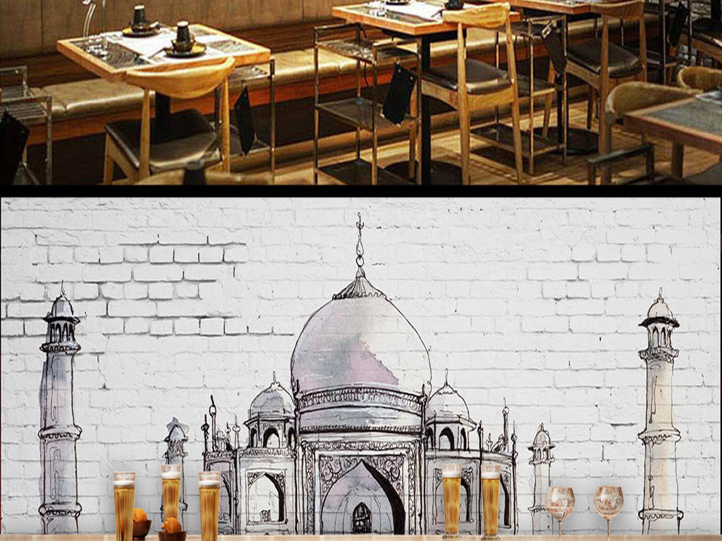 白色复古砖墙欧式手绘欧式建筑背景墙