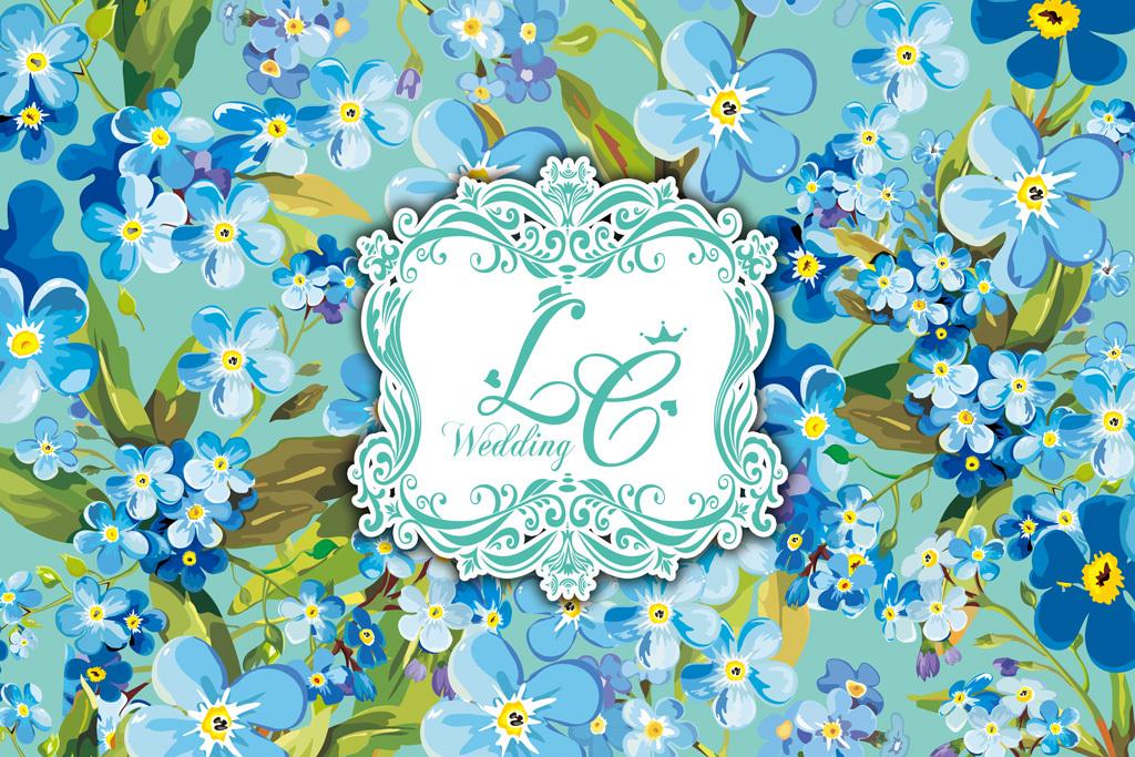蓝色花卉婚礼花墙设计