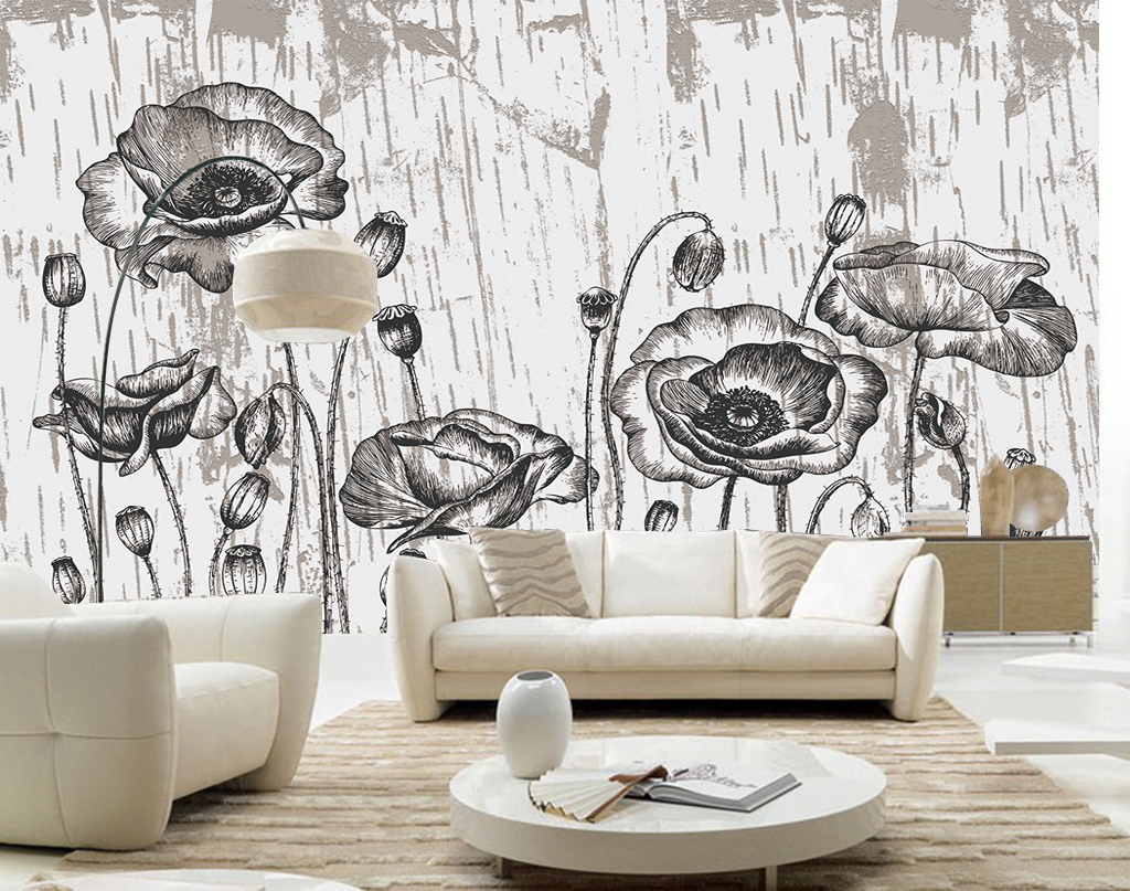 背景墙|装饰画 电视背景墙 手绘电视背景墙 > 思舍创意钢笔白描花卉