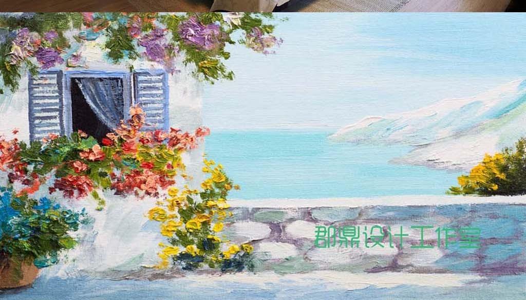 巨幅手绘油画风景爱情海圣托里尼房子背景墙