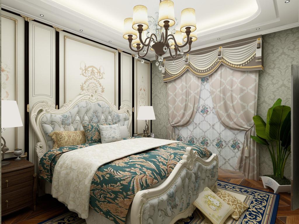 欧式卧室360度全景图效果图