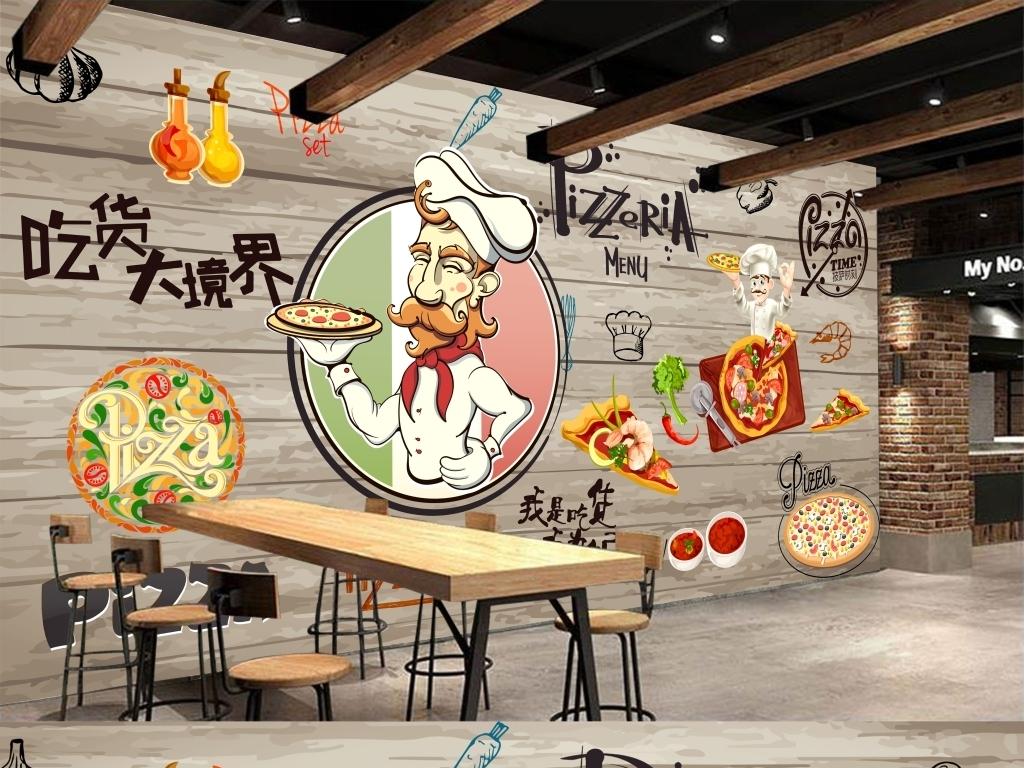 店背景墙手绘厨师汉堡乳酪pizza甜品店美味美食薯条