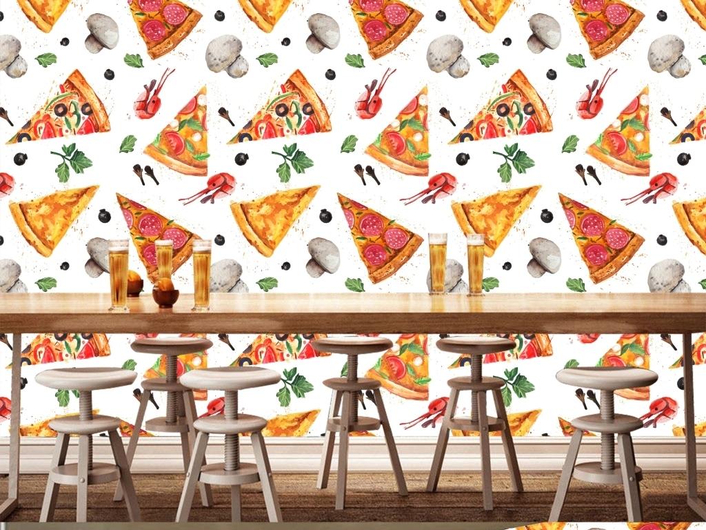味披萨蛋糕大型壁画背景墙