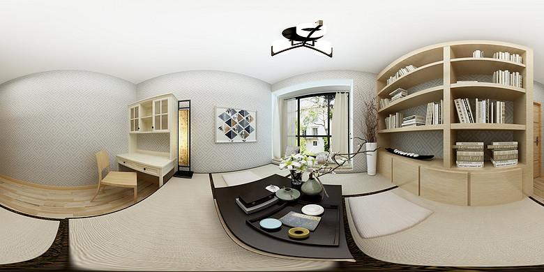 现代简约日式榻榻米360度全景图效果图
