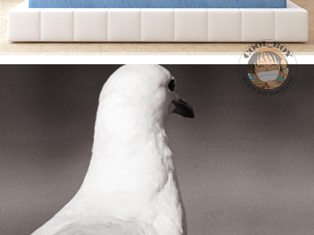 背景墙|装饰画 无框画 动物图案无框画 > 北欧简约时尚黑白和平鸽子
