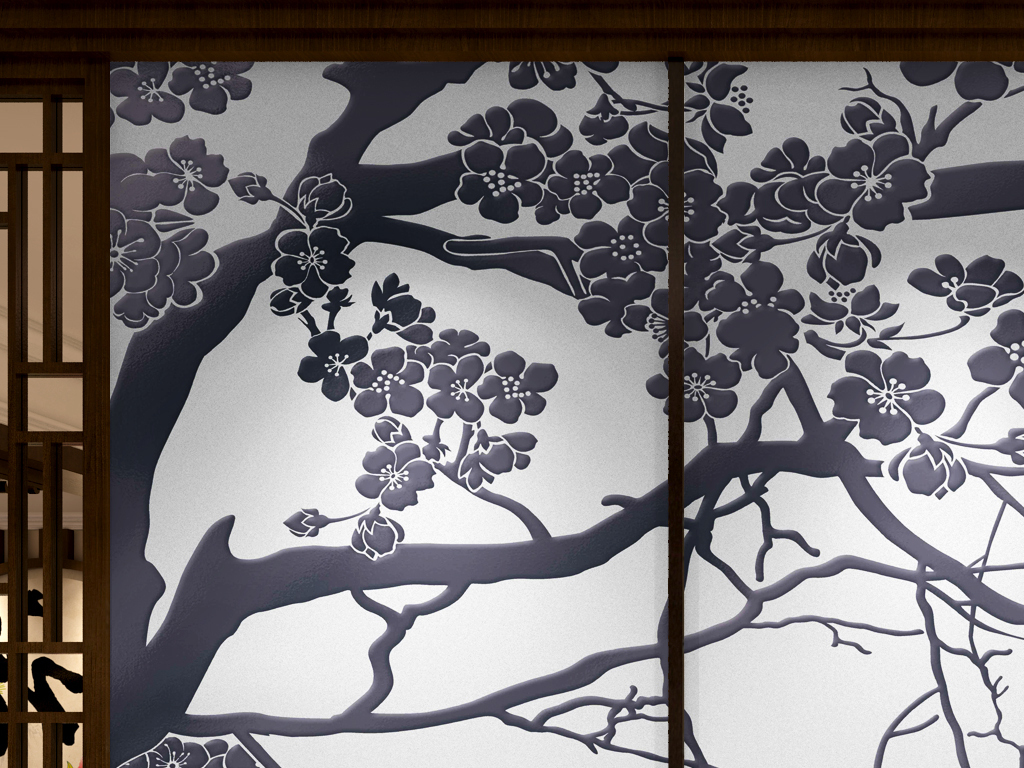 梅花背景原创手绘迎客松壁画风景壁画客厅壁画幼儿园壁画壁画图片3d