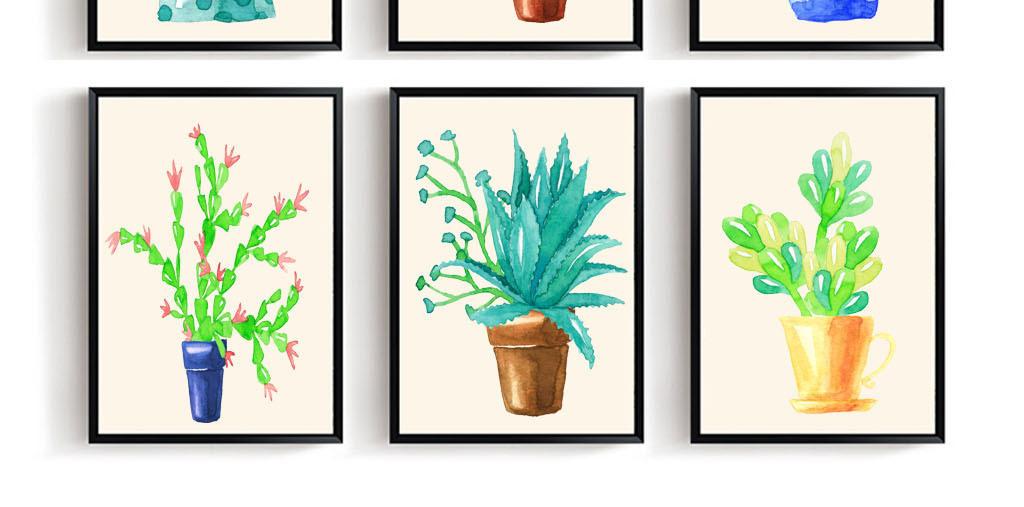 手绘水彩画儿童画风格欧式风格装饰画现代简约小清新装饰画小清新仙人