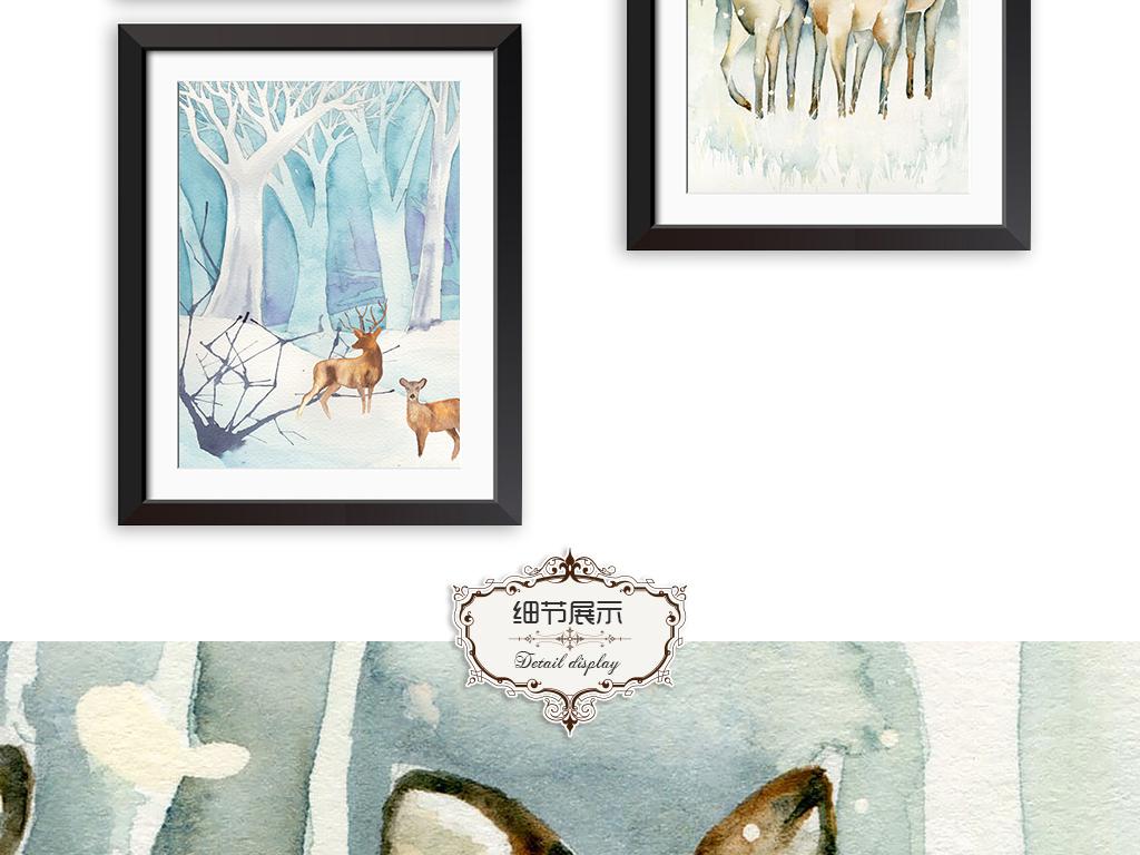水彩小鹿北欧风装饰画(图片编号:15717401)_动物图案