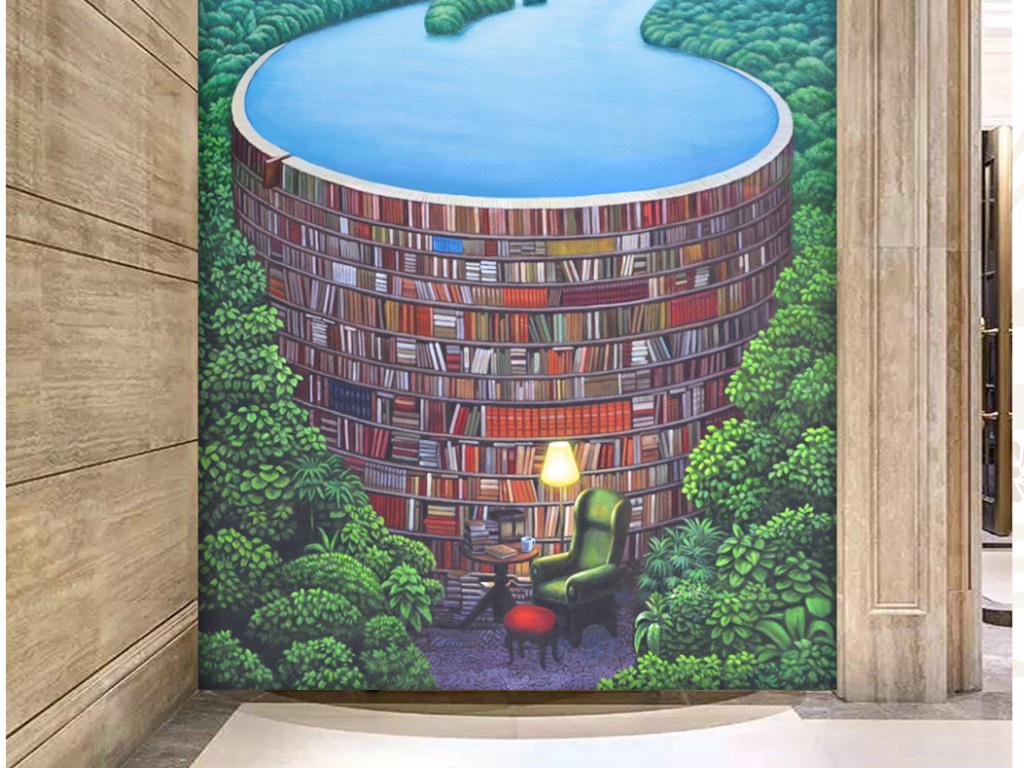纯手绘创意油画森林书屋艺术玄关