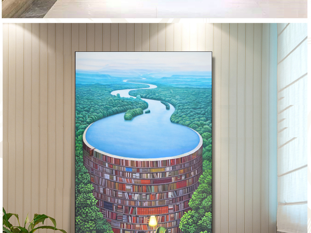 背景墙 玄关 油画|立体油画玄关 > 纯手绘创意油画森林书屋艺术玄关