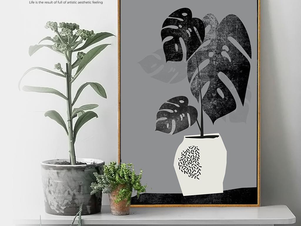北欧简约抽象黑白植物装饰画有框画餐厅挂画