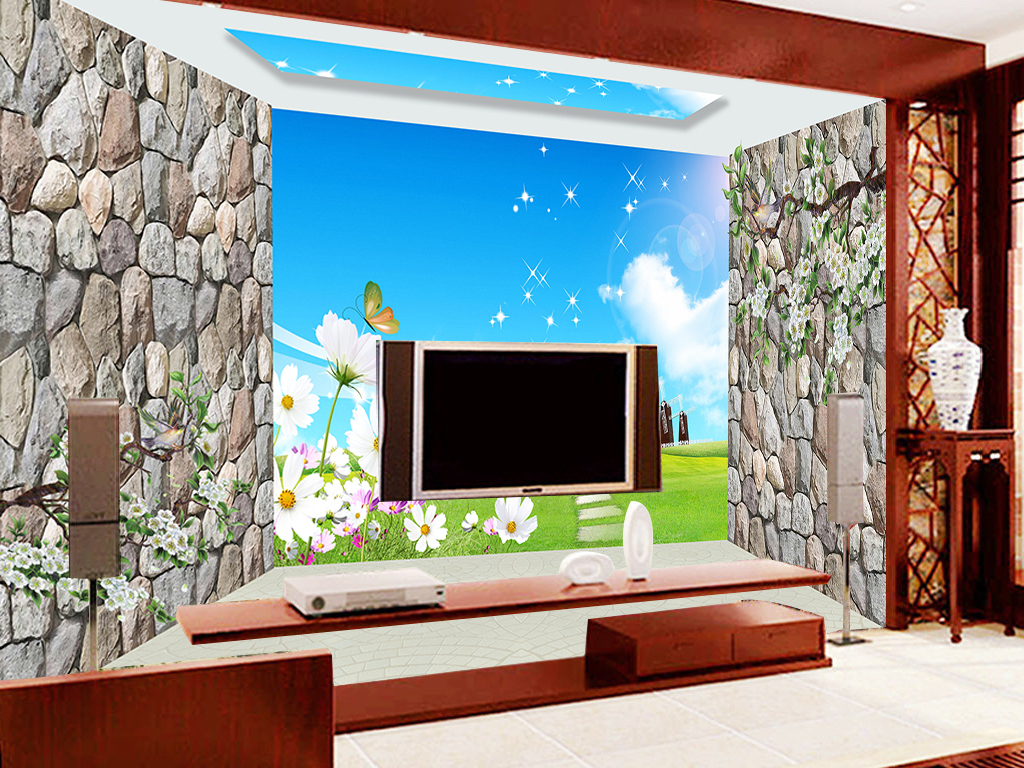 电视背景墙中式背景墙手绘背景墙玉雕背景墙电视背景墙壁画玄关背景墙