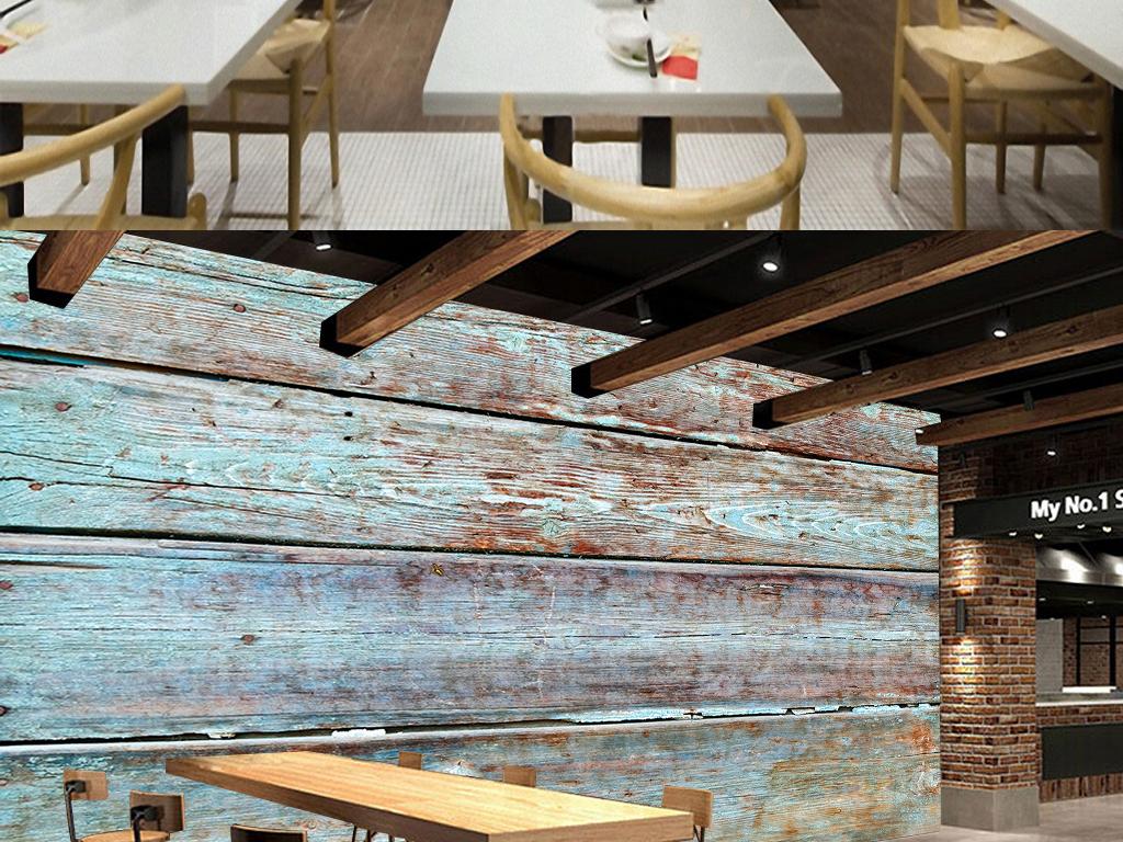 欧式复古彩色木板条纹背景墙