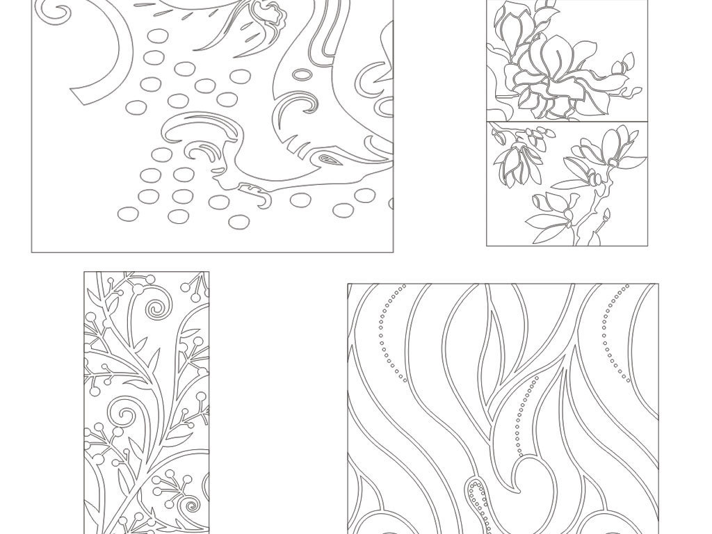 青花瓷花纹简笔画图图片