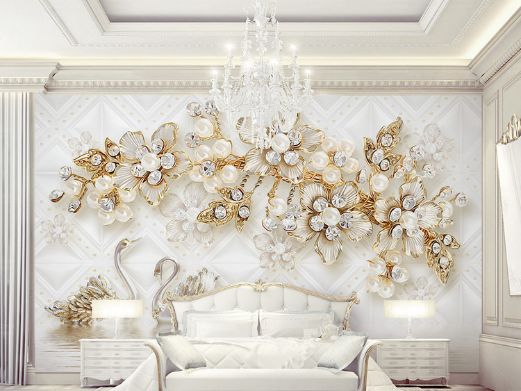 奢华花朵软包3d立体天鹅珠宝电视背景墙
