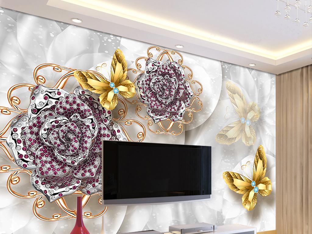 欧式珠宝3d电视背景墙