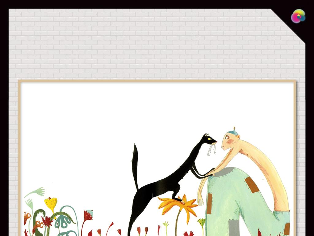 北欧现代简约时尚动物抽象画呆萌可爱小清新