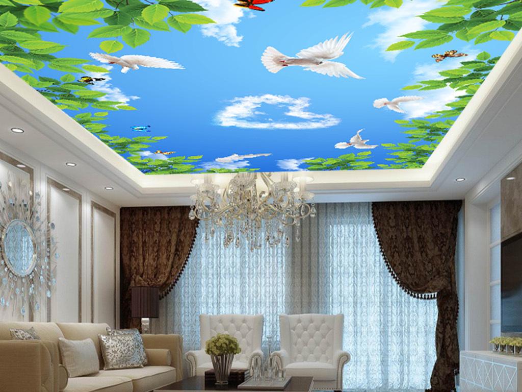 树叶吊顶蓝天白鸽蓝天树叶天顶油画西方天顶画欧式天顶油画欧式天顶