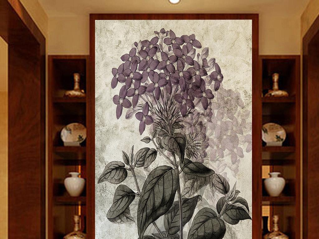 手绘植物玄关花朵背景墙