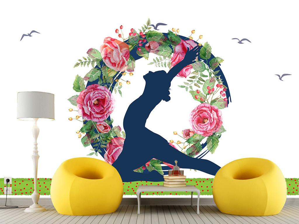 唯美简约瑜伽健身房背景墙