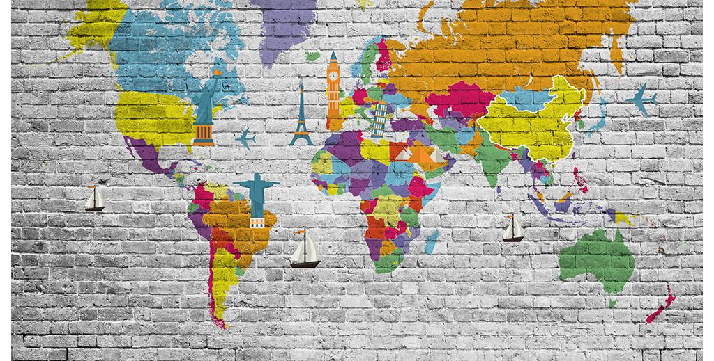 复古地中海世界地图手绘北欧电视背景墙