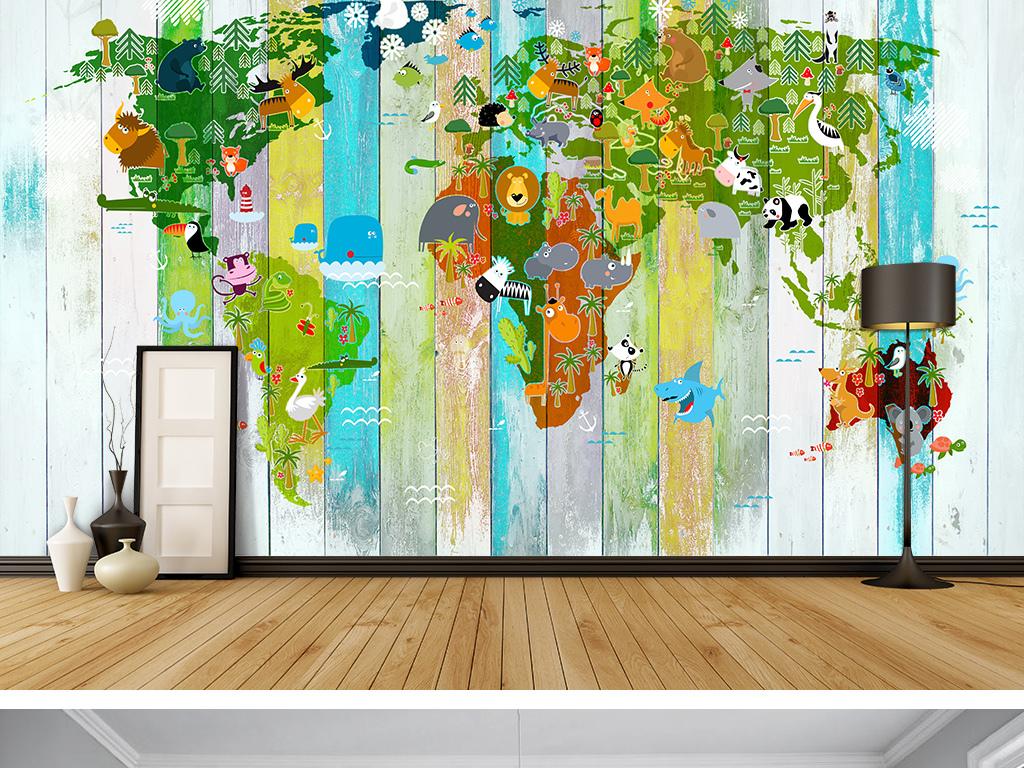 手绘背景墙壁画墙画墙纸壁纸3d背景墙装饰画卡通背景地图背景墙动物