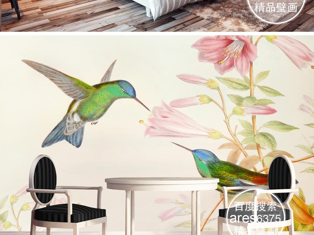 背景墙|装饰画 电视背景墙 田园背景墙 > 手绘淡雅文艺壁画花鸟蜂鸟