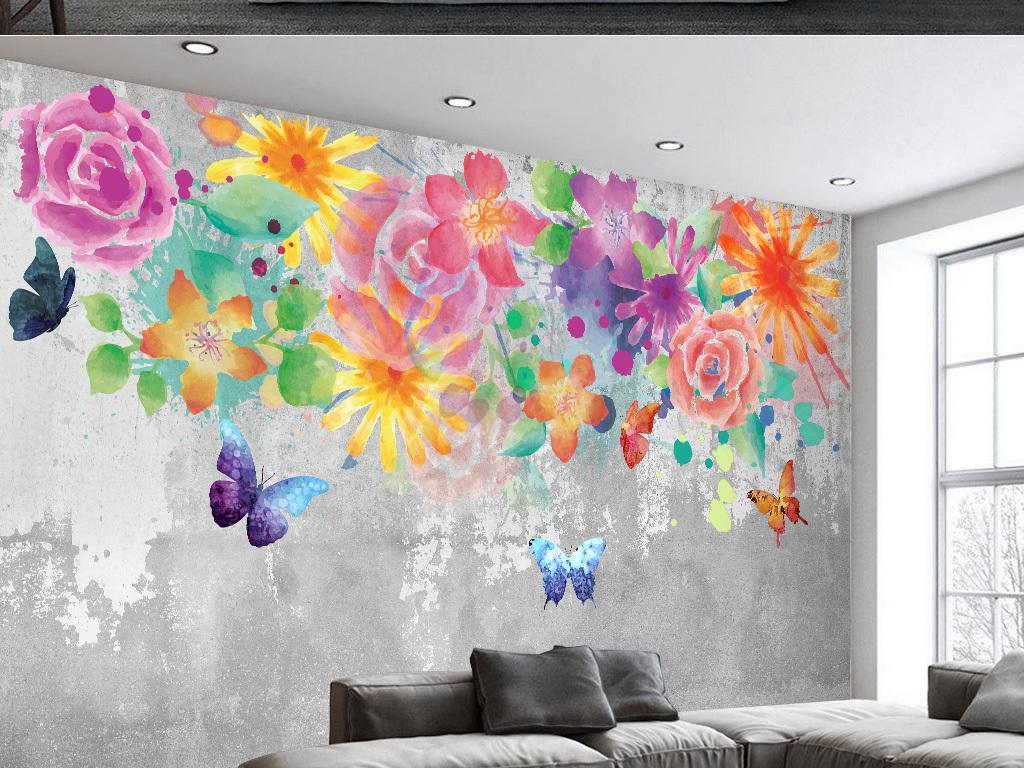 复古欧式手绘花卉背景墙图片