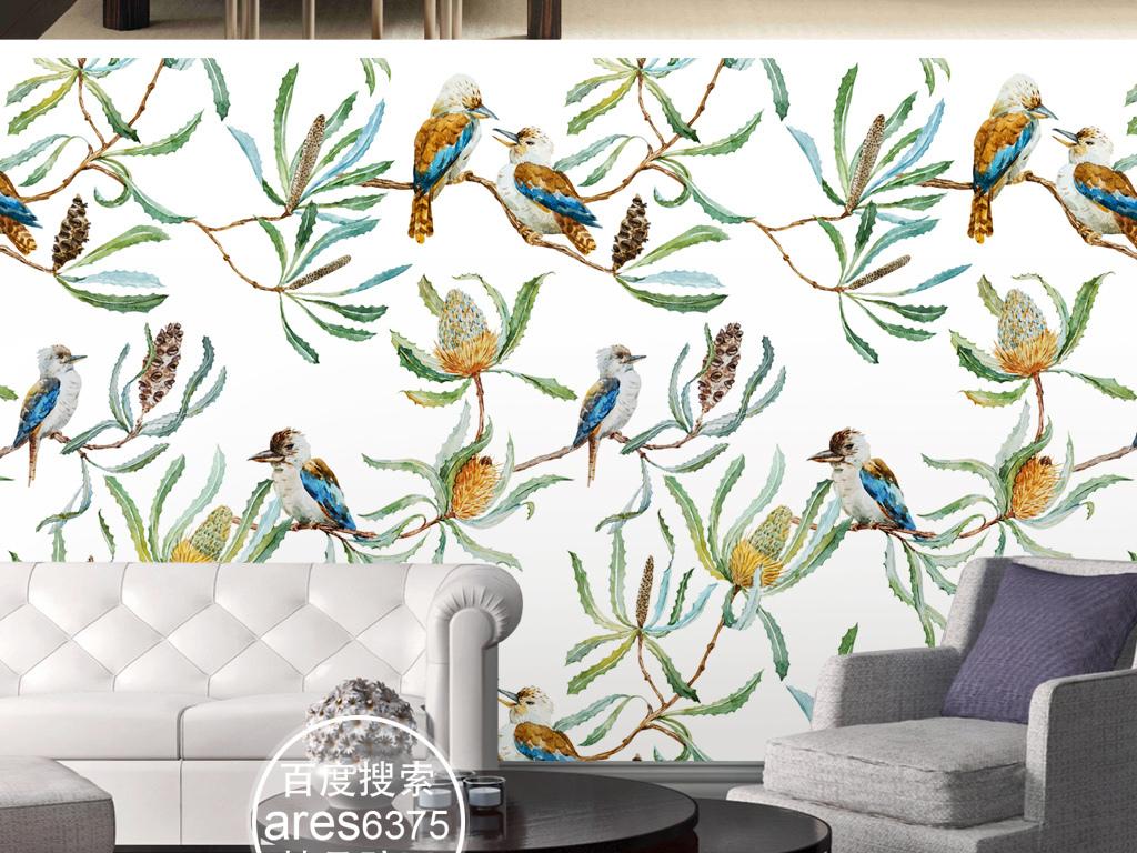 欧式高清手绘花鸟平铺图案墙纸壁画背景墙