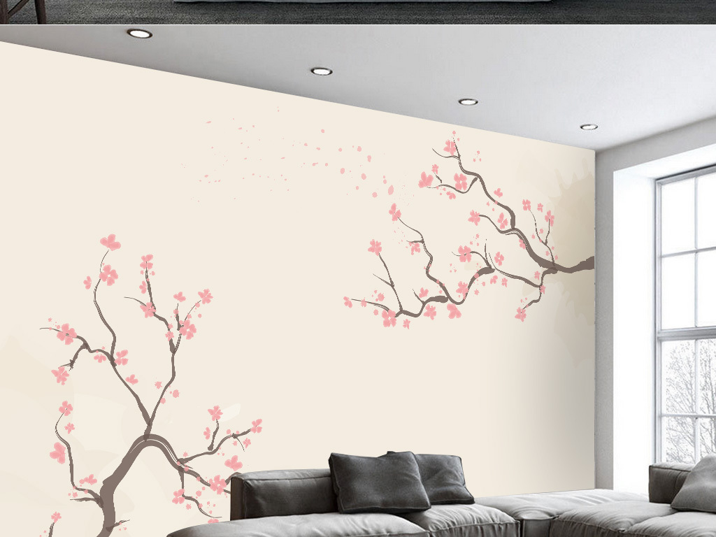 新中式极简梅花电视背景墙(图片编号:15724239)