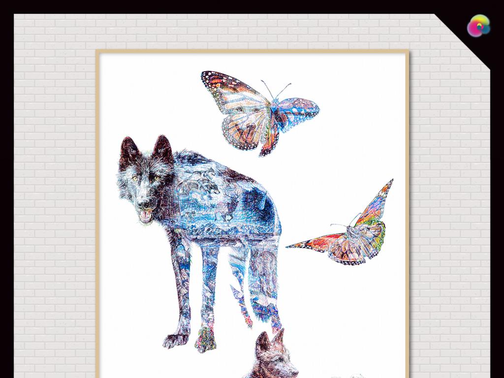 北欧现代简约创意手绘动物剪影装饰画