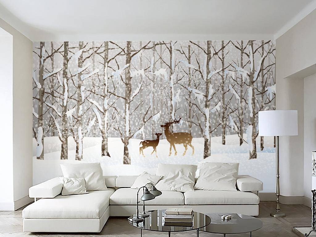 素雅北欧宜家风格雪景麋鹿树林电视背景墙