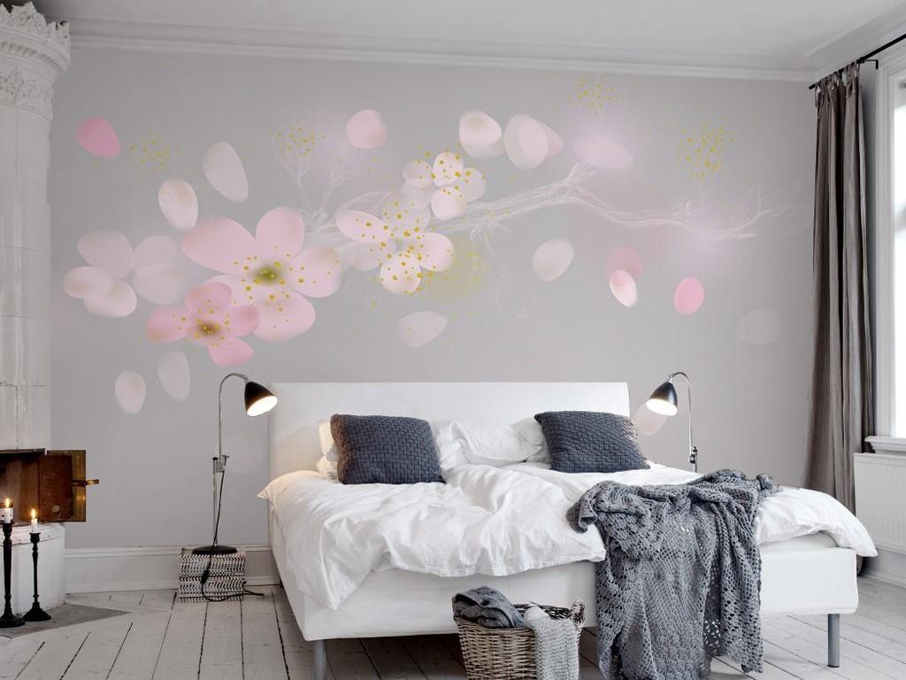 背景墙 装饰画 电视背景墙 手绘电视背景墙 > 梦幻粉色手绘梅花花瓣树