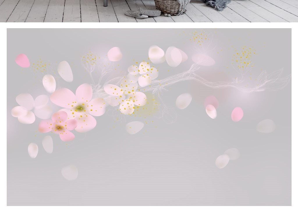 梦幻粉色手绘梅花花瓣树枝电视背景墙