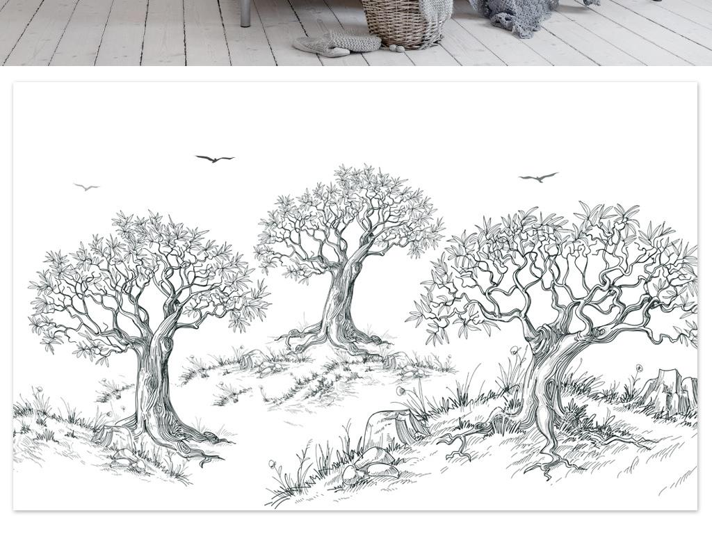 城市手绘黑白树