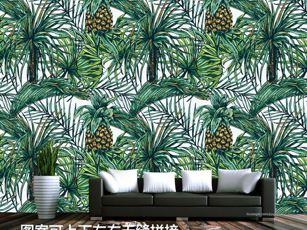 手绘菠萝美式墙纸图片设计素材_高清psd模板下载(47.