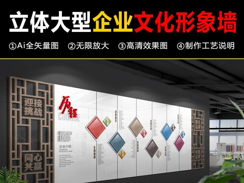 古典立体大型企业文化墙镂空形象墙