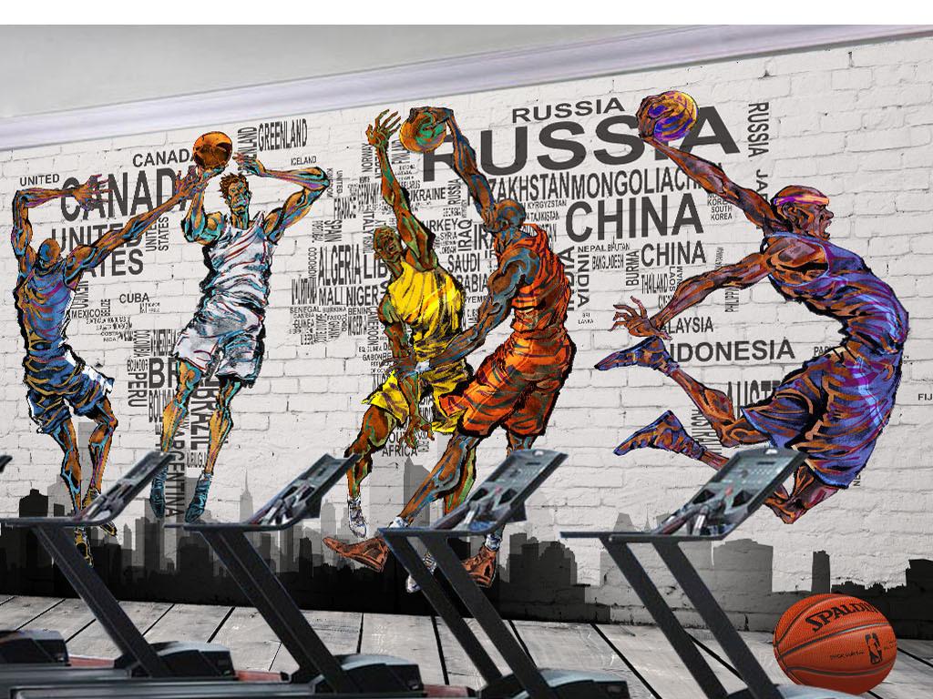 背景墙|装饰画 工装背景墙 酒吧|ktv装饰背景墙 > 篮球灌篮高手涂鸦图片