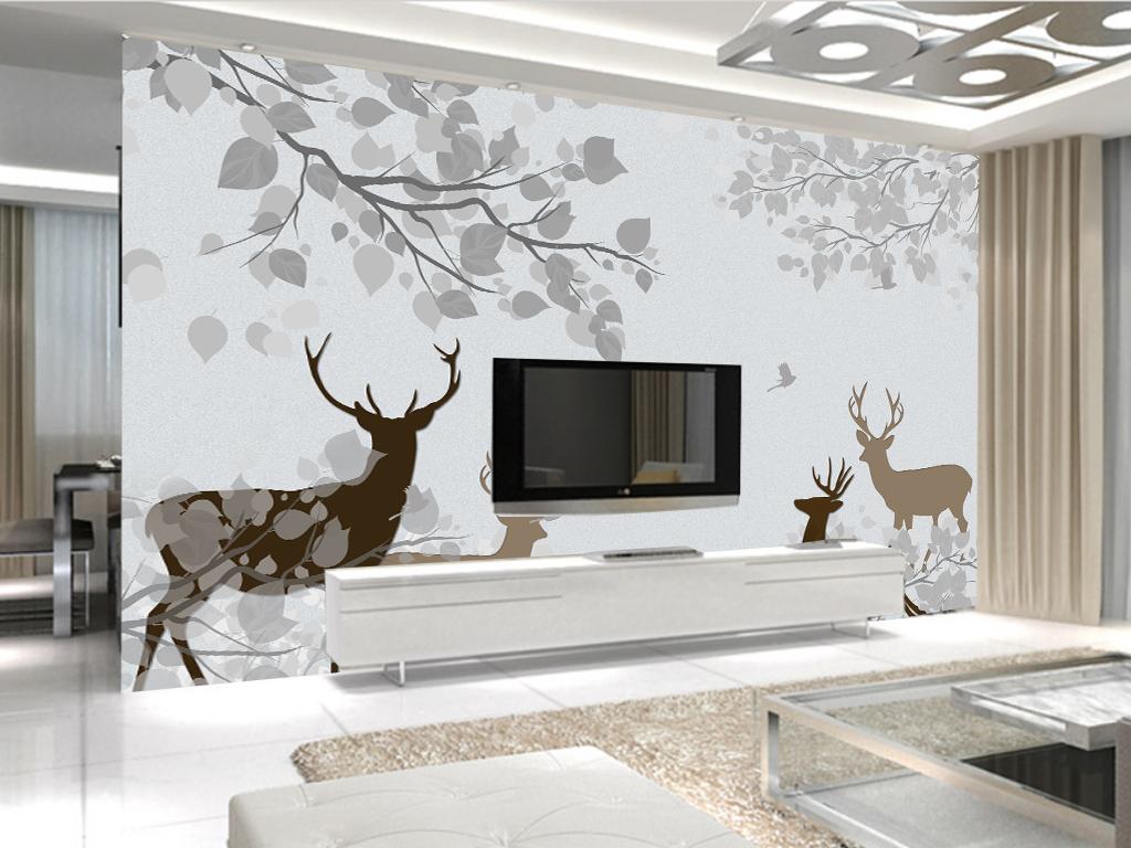 北欧美式清爽素雅森林麋鹿电视背景墙图片
