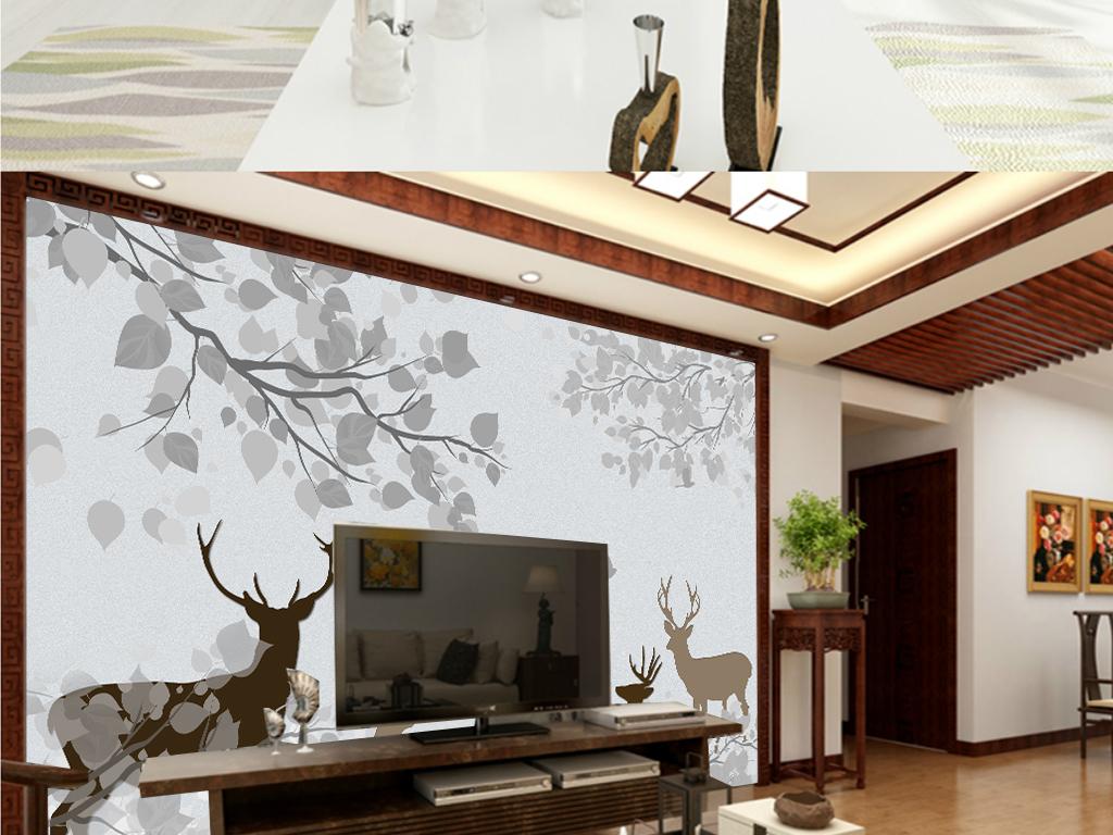 背景墙 电视背景墙 美式背景墙 > 北欧美式清爽素雅森林麋鹿电视背景图片