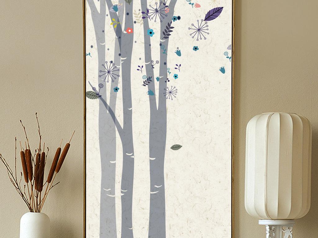 麋鹿森林北欧无框画手绘鹿装饰画
