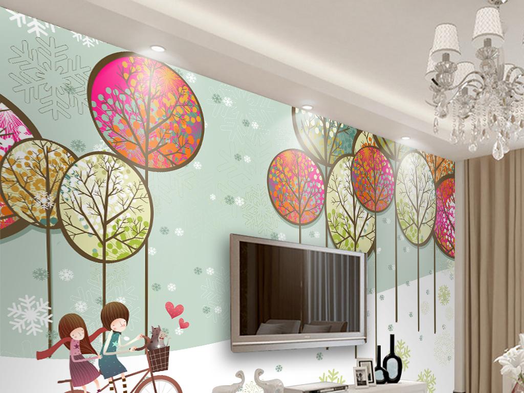 现代简约手绘可爱树林浪漫情侣背景墙