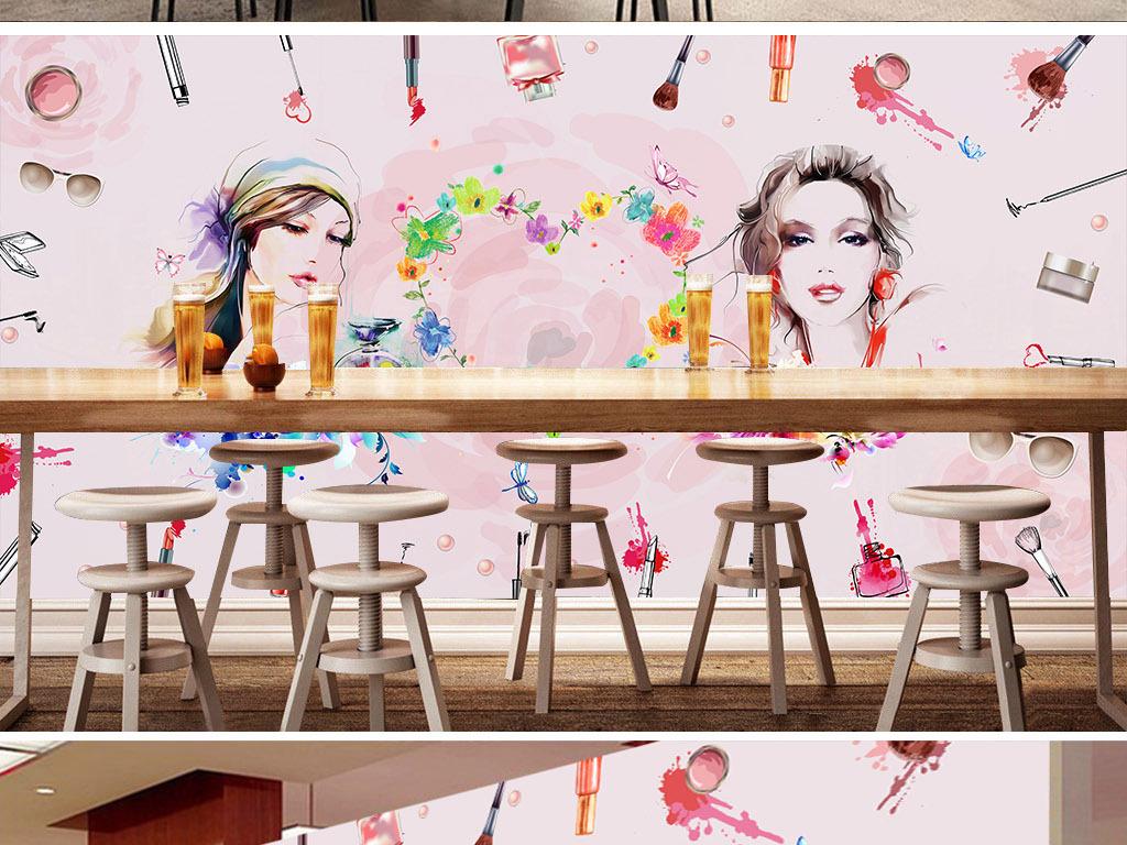 高清手绘化妆品店工装背景墙