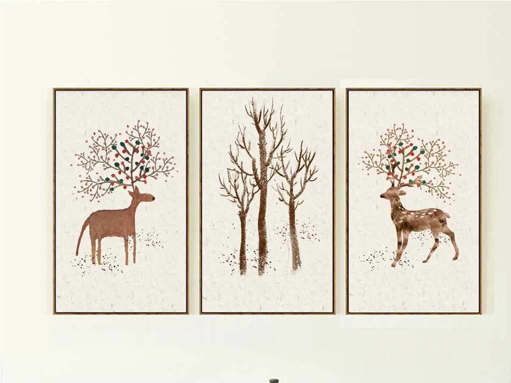 麋鹿森林复古北欧无框画手绘鹿装饰画