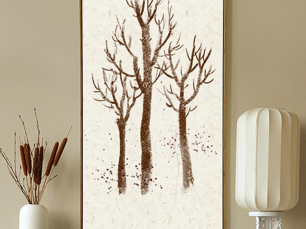 背景墙|装饰画 无框画 无框画挂钟 > 麋鹿森林复古北欧无框画手绘鹿