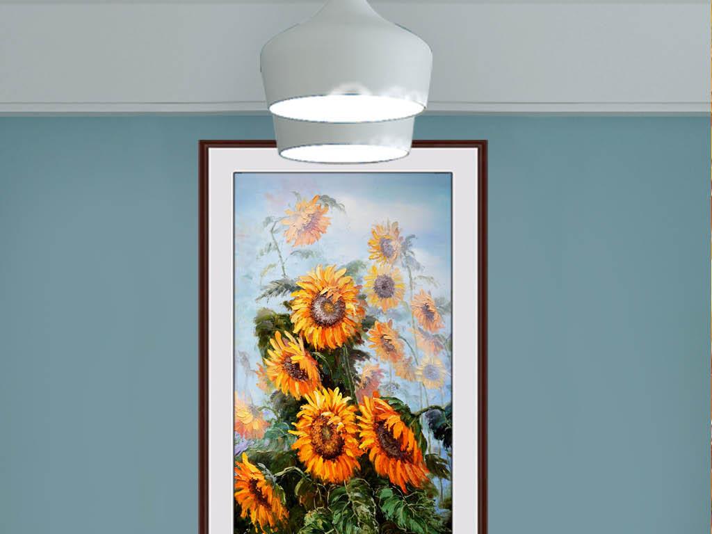 纯手绘向日葵艺术花卉玄关装饰画