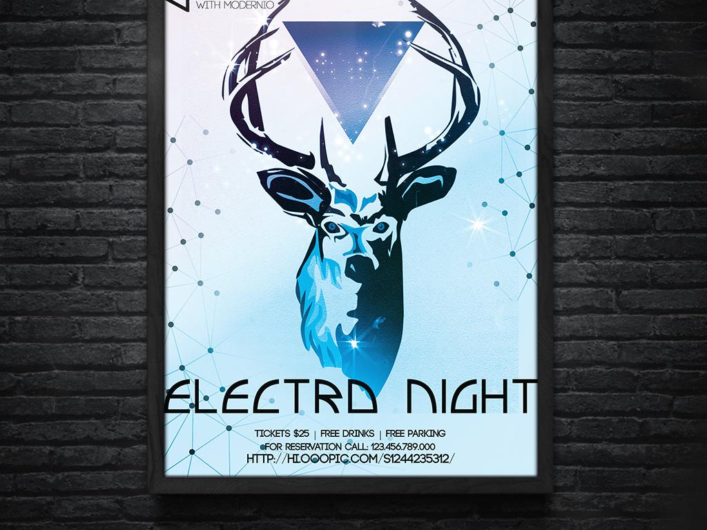 平面|广告设计 海报设计 国外创意海报 > 炫彩几何自然之声驯鹿插画电