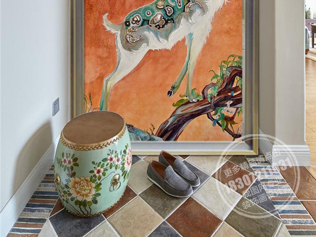 欧式创意手绘麋鹿玄关