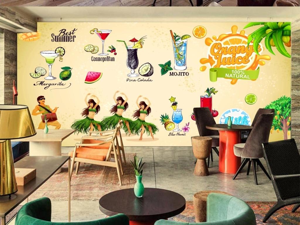 西瓜汁橙汁沙冰手绘背景墙奶茶饮料奶茶背景手绘奶
